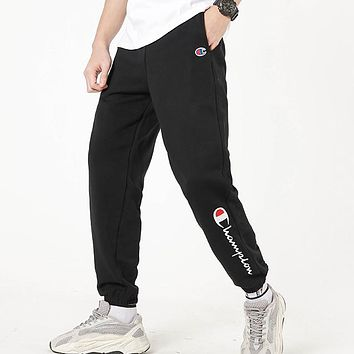 Champion New fashion embroidery letter couple pants Black