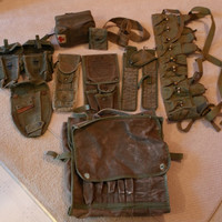 Large Lot US Army OD Field Gear Pouches Red Cross Kit M1 Rifle Cleaning Case Etc