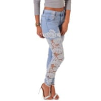 Women Design Lace Embroidery Jeans