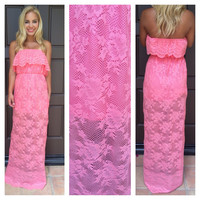Eternal Strapless Lace Maxi Dress - PINK