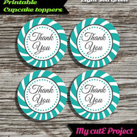 """Thank you - Cupcake toppers - Light sea green - Instant Download - Party printable - Party favor - Candy Bar - 5 cm / 2"""""""