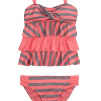 Bandeau Stripe Tankini Swimsuit