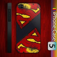 Superman Logo Custom Hard Black / White Plastic Cover for iPhone 4/4s and iPhone 5 Case
