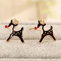 Black Crystal Detail Christmas Reindeer Shape Earrings