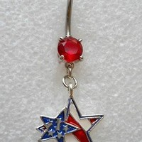 DOUBLE USA AMERICAN FLAG PATRIOTIC STAR Navel Belly Button Ring ARMY MARINES 22