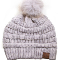 Winter Wonderful CC Fur Pom Pom Knit Beanie - Limited Stock