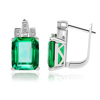 Jewelrypalace Women's 8.22ct  Green Nano Emerald Cut 925 Sterling Silver Clip in Lever Back Earrings