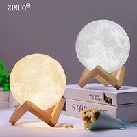 Rechargeable Moon Lamp 2 Color Change 3D Light Touch Switch
