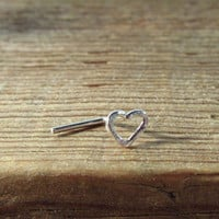 Nose Stud Silver Tiny Open Heart