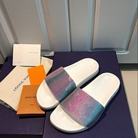 Louis Vuitton LV couple style colorful letter slippers Shoes White
