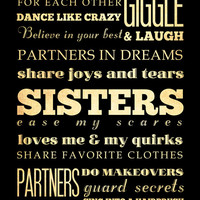 Sisters Subway / Bus / Transit Roll / Typography Inspirational Quote Art Poster 18X24 - Wall Art Decoration - LHA-359