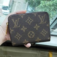 LV Louis Vuitton Classic Retro Zipper Clutch Bag Wristlet Wallet Purse