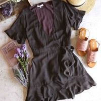 final sale - honey belle - mineral washed short sleeve wrap dress - charcoal