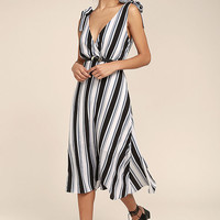 Ali & Jay Salsa Conmigo Ivory Striped Midi Dress