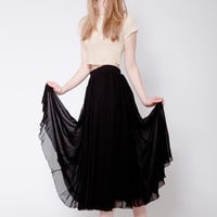Long Black Sheer Skirt With Lining (Small/Indie Brands)