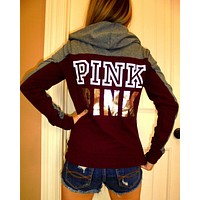victoria s secret pink women s fashion letter print hooded long sleeves pullover tops sweater-7