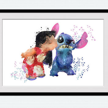 Lilo and Stitch watercolor print Lilo and Stitch art poster Disney art print Home decoration Kids room wall art Nursery room decor W32