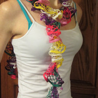 Bright Parrot Colors Light Weight Ruffled Scarf
