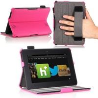 MoKo(TM) Slim-fit Folio Cover Case for Amazon Kindle Fire HD 7 Inch Tablet, MAGENTA (with Automatic Wake/Sleep function, Protective Hardback, Built-in Multi-angle Stand)--Lifetime Warranty