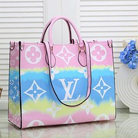 Onewel Louis Vuitton LV Handbag Gardient Could Square bag Colorful Big Shopping Bag Ligh Pink&Cyan