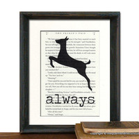 Harry Potter Always over Potter Book Page - Beautifully Matted Gift Present Home Office Decor