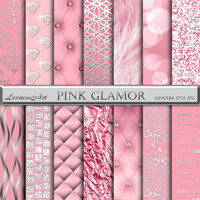"Pink digital paper:""PINK GLAMOR"" with pink texture paper,foil, fur,laсe,bokeh,rhinestones,glitter romantic glamor patterns, Instant Download"