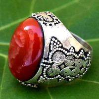 925 Silver Kuchi Tribal Carved Red Carnelian Stone Ring Afghan Jewelry Ethnic