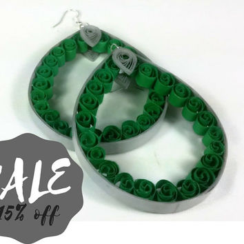 Sale Jewelry Huge Hoop Earrings, sale earrings, huge earrings, oversized earrings, teardrop hoop earrings, green earrings, large earrings