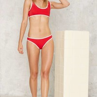 Nasty Gal Follow My Borders Bikini Bottom - Red