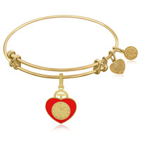 Expandable Bangle in Yellow Tone Brass with Heart Badge Symbol