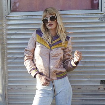 PRESALE Rising Sun Jacket   Dusty Rose   Mauve Quilted 70s style satin bomber Jacket lightweight gold and purple seventies jacket 80s