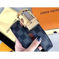 Louis Vuitton LV tide brand men and women chess board pin buckle belt gold
