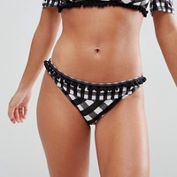 ASOS Mix and Match Mixed Gingham Pom Pom Hipster Bikini Bottom at asos.com