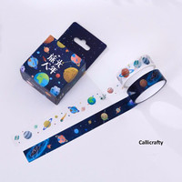 Planets and Stars Japanese Washi Tape, Universe Masking Tape, Decorative Tape, Planner Stickers - WT009