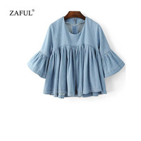 ZAFUL 2017 New Spring Women Denim Jeans Blouse O-Neck Zippers Flare 3/4 Sleeve Ruffers Blouse Tops Feminino blusas femme blusa