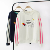 Rocket Letter Embroidered Stripe Sleeve Sweater