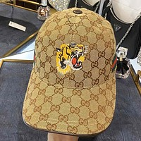 GUCCI New fashion embroidery tiger more letter print canvas cap hat Khaki