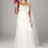 Strapless Lace A-line Gown with Side Split - David's Bridal