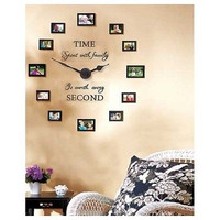 Family Photo Wall Clock Album Picture Frame Collage Memories 12 Frames Pictures