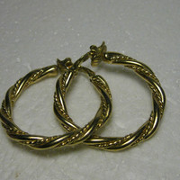 Vintage Trifari Goldtone Twisted Large Hoop Clip Earrings, 1970's