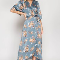 Satin Floral Maxi Wrap Dress