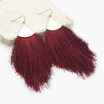 Feather Tassel Drop Earrings in Wine