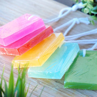 Colorful Glycerin Shower Soap with Rope / Homemade Soap Hanging by a Thread / Handmade Bright Color Bar