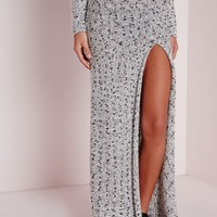 Missguided - Chunky High Split Knitted Maxi Skirt Grey