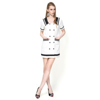 Double Button Down White Mini Casual Dress