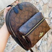 COACH Fashion New Pattern Print Leather Backpack Bag Book Bag Handbag Coffee