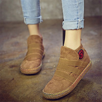 Elastic Slip On Ankle Women Boots Pure Color England Style Flat Heel Casual Booties Spring Autumn Soft Sole Shoes