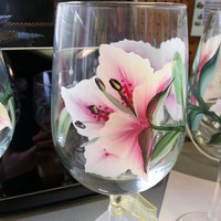 Stargazer Lily Hand Painted Wine Glasses