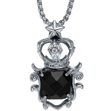 Stainless Steel Black Crystal Star Crown Pendant Necklace