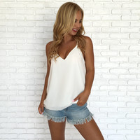 Jersey Shore Tank Blouse In Ivory